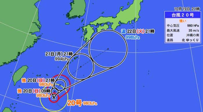 台風20号 21号 進路予想