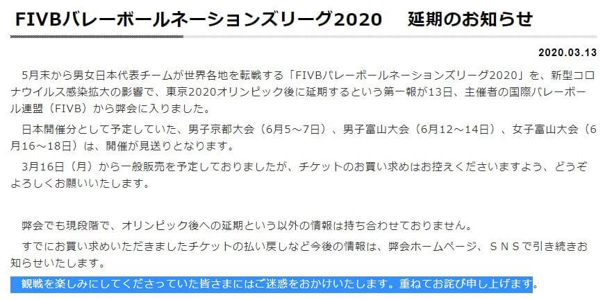 FIVBバレーボールネーションズリーグ2020 延期 チケット 払い戻し 方法